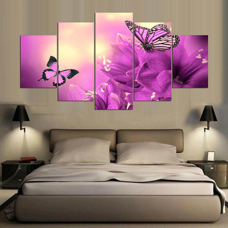 Split Unframed Flowers Butterflies Pattern PaintingsHOME<br><br>Size: 1PC:12*31,2PCS:12*16,2PCS:12*24 INCH( NO FRAME ); Color: PURPLE; Subjects: Animal,Flower; Product Type: Art Print; Features: Decorative; Style: Fashion,Romantic; Hang In/Stick On: Bedrooms,Cafes,Hotels,Kitchen,Living Rooms,Offices; Form: Five Panels; Frame: No; Material: Canvas; Package Contents: 1 x Canvas Paintings (Set);