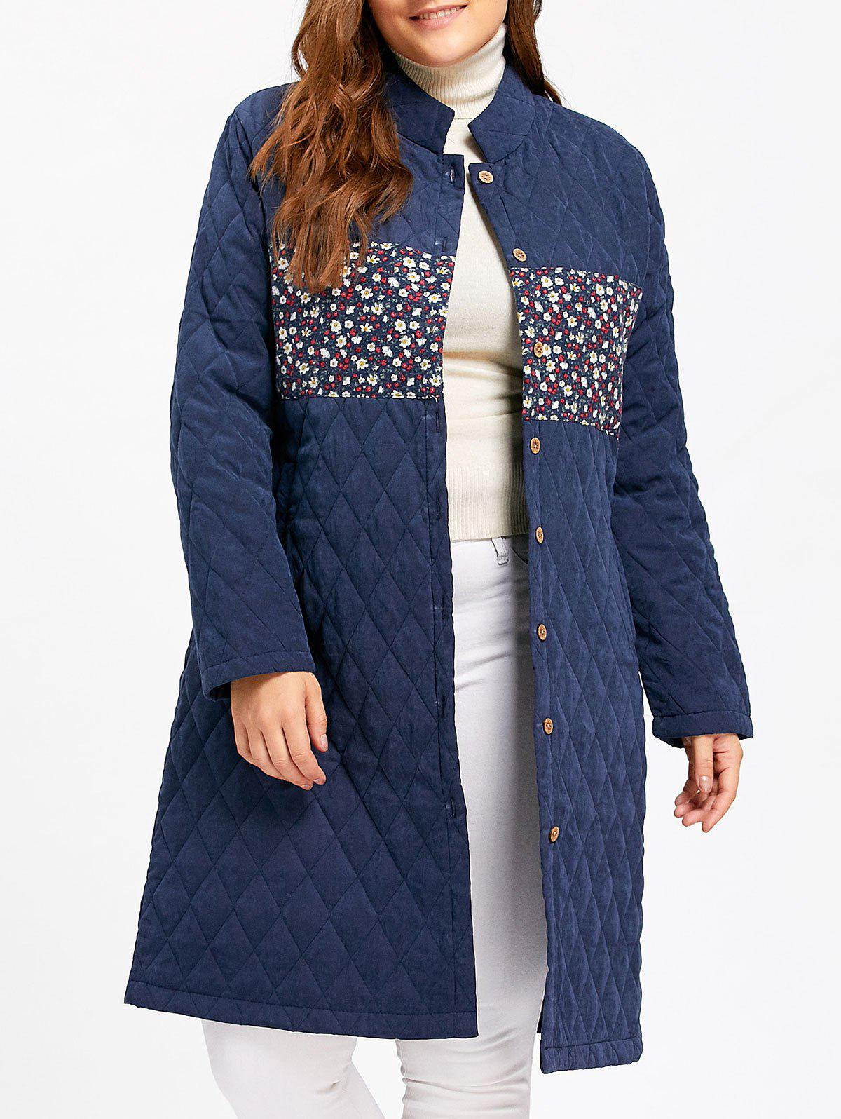 Online Floral Panel Textured Plus Size Long Padded Coat