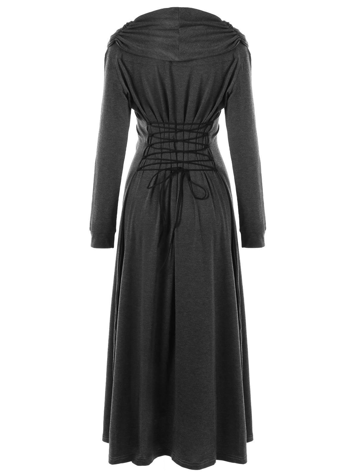 Lace Panel Lace Up Maxi DressWOMEN<br><br>Size: 2XL; Color: DEEP GRAY; Style: Novelty; Material: Polyester,Spandex; Silhouette: A-Line; Dresses Length: Ankle-Length; Neckline: Cowl Neck; Sleeve Length: Long Sleeves; Pattern Type: Solid Color; With Belt: No; Season: Fall,Spring; Weight: 0.6400kg; Package Contents: 1 x Dress;