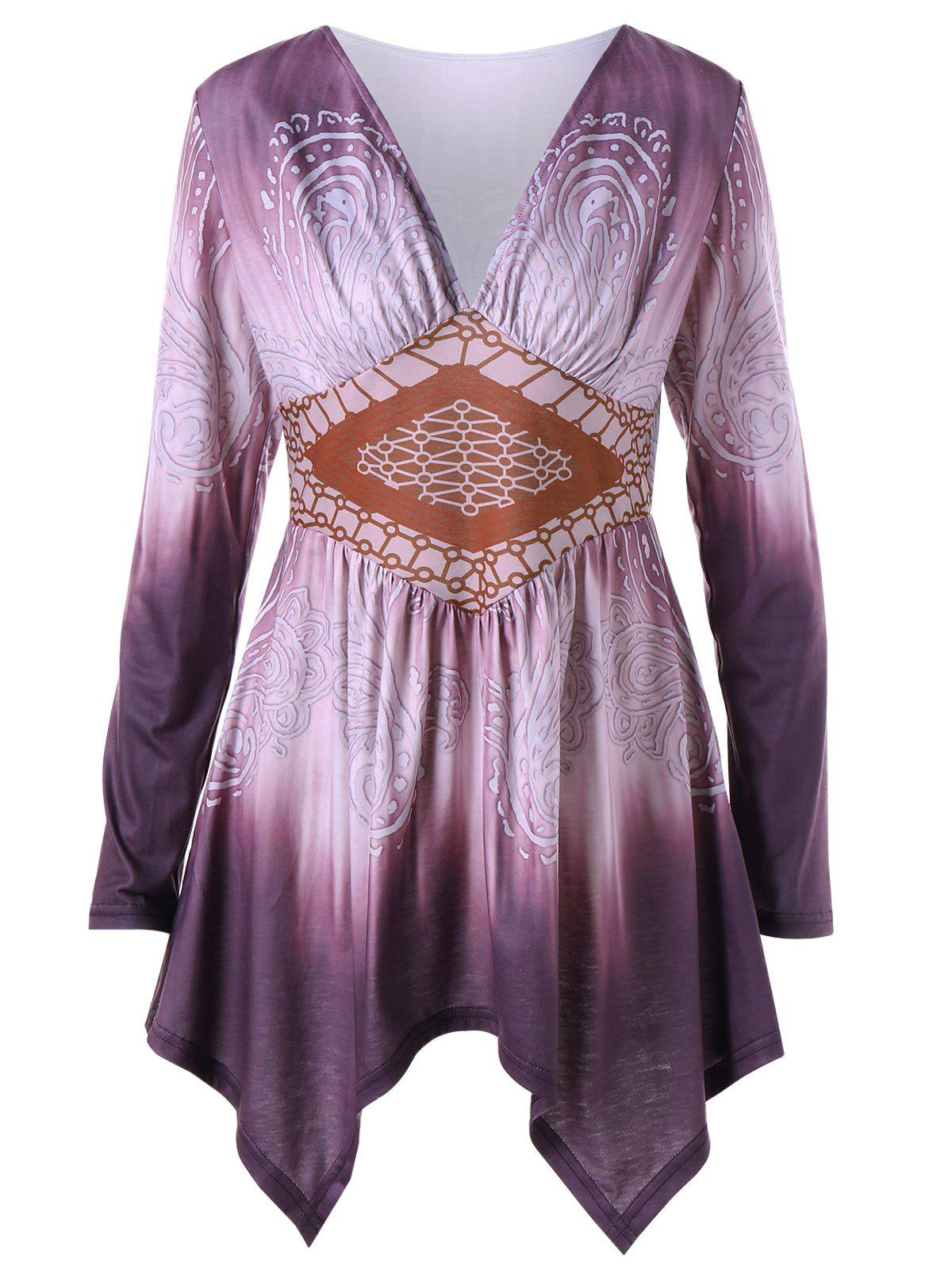 Plus Size Ombre Paisley Empire Waist Tunic TopWOMEN<br><br>Size: XL; Color: DARK VIOLET; Material: Polyester,Spandex; Shirt Length: Long; Sleeve Length: Full; Collar: V-Neck; Style: Casual; Season: Fall,Spring; Pattern Type: Paisley; Weight: 0.3100kg; Package Contents: 1 x Top;
