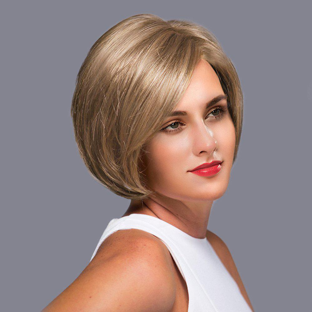 Chic Side Parting Straight Short Bob Lace Front Human Hair Wig
