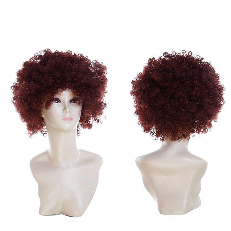 Short Fluffy Afro Curly Clown Fans Carnival Party WigHAIR<br><br>Color: COFFEE; Type: Full Wigs; Cap Construction: Capless; Style: Afro Curly; Cap Size: Average; Material: Synthetic Hair; Bang Type: Side; Length: Short; Occasion: Party; Length Size(CM): 34; Weight: 0.1300kg; Package Contents: 1 x Wig;