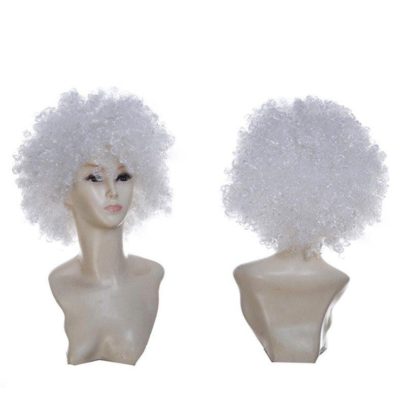 Short Fluffy Afro Curly Clown Fans Carnival Party WigHAIR<br><br>Color: WHITE; Type: Full Wigs; Cap Construction: Capless; Style: Afro Curly; Cap Size: Average; Material: Synthetic Hair; Bang Type: Side; Length: Short; Occasion: Party; Length Size(CM): 34; Weight: 0.1300kg; Package Contents: 1 x Wig;