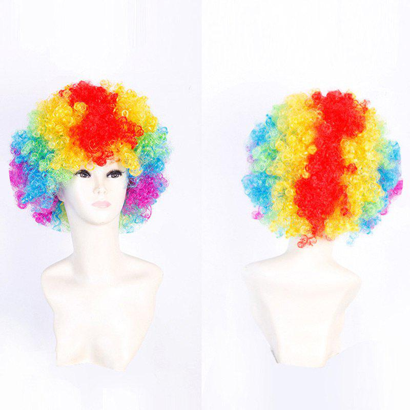 Short Fluffy Afro Curly Clown Fans Carnival Party WigHAIR<br><br>Color: COLORFUL; Type: Full Wigs; Cap Construction: Capless; Style: Afro Curly; Cap Size: Average; Material: Synthetic Hair; Bang Type: Side; Length: Short; Occasion: Party; Length Size(CM): 34; Weight: 0.1300kg; Package Contents: 1 x Wig;