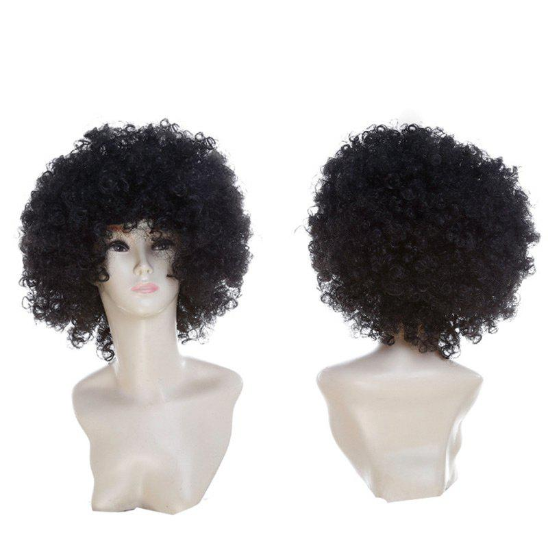 Short Fluffy Afro Curly Clown Fans Carnival Party WigHAIR<br><br>Color: BLACK; Type: Full Wigs; Cap Construction: Capless; Style: Afro Curly; Cap Size: Average; Material: Synthetic Hair; Bang Type: Side; Length: Short; Occasion: Party; Length Size(CM): 34; Weight: 0.1300kg; Package Contents: 1 x Wig;