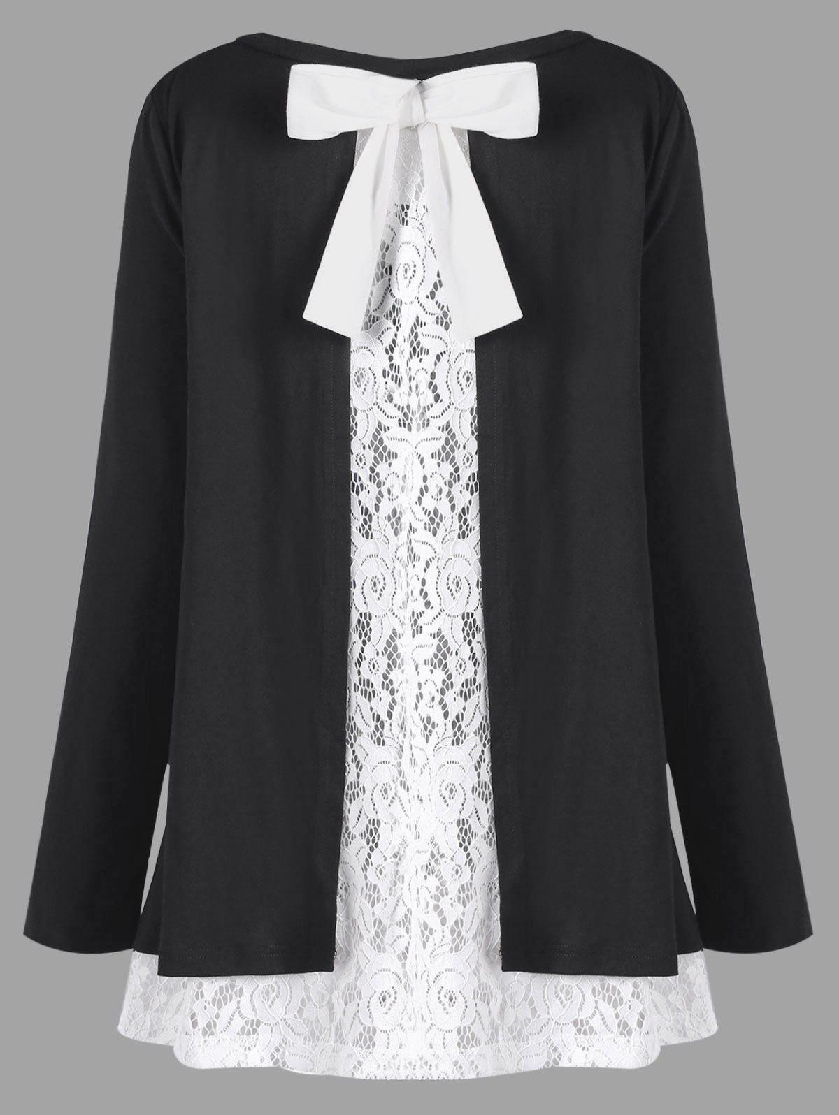 Plus Size Bowknot Embellished Lace Trim TopWOMEN<br><br>Size: 4XL; Color: WHITE AND BLACK; Material: Polyester,Spandex; Shirt Length: Long; Sleeve Length: Full; Collar: Scoop Neck; Style: Casual; Season: Fall,Spring; Embellishment: Lace; Pattern Type: Floral; Weight: 0.3900kg; Package Contents: 1 x Top;