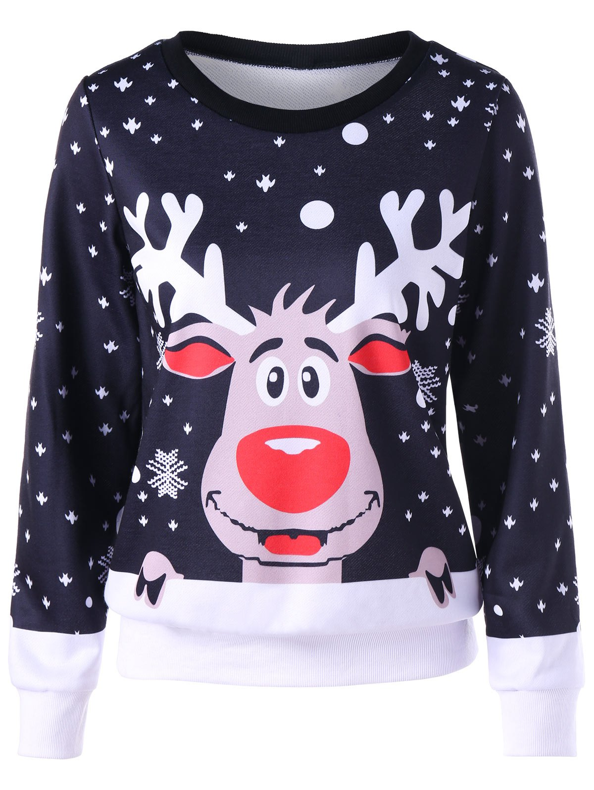 Shop Ugly Christmas Snowflake Elk Crew Neck Sweatshirt