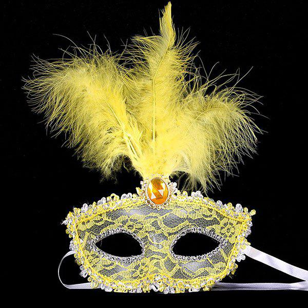 Hot Fake Crystal Embellished Feather Lace Party Mask