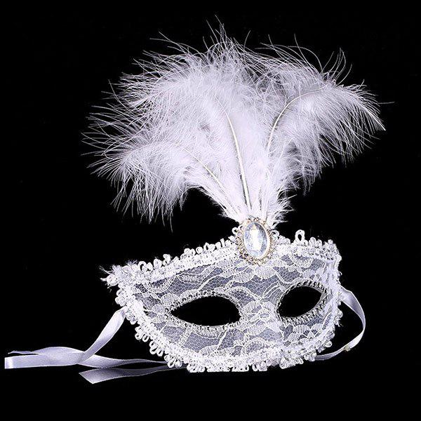 Trendy Fake Crystal Embellished Feather Lace Party Mask