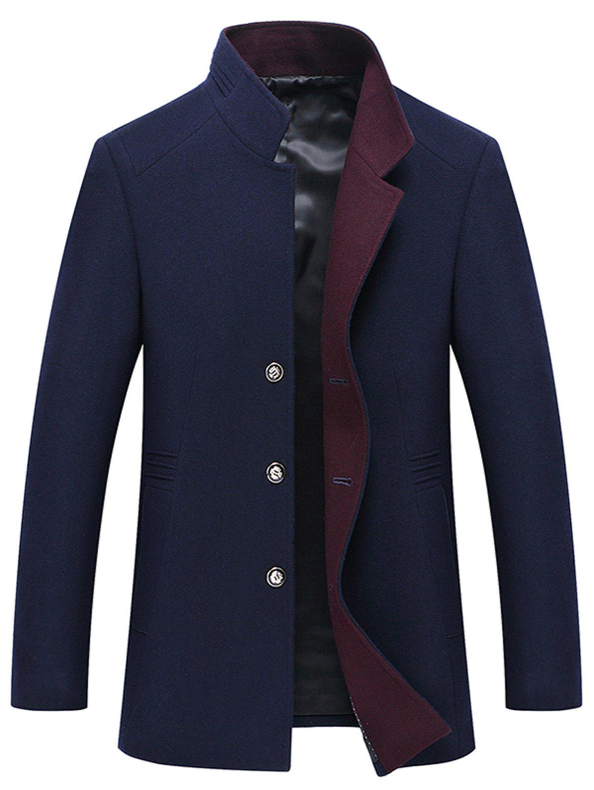 Hot Button Up Mandarin Collar Wool Blend Coat