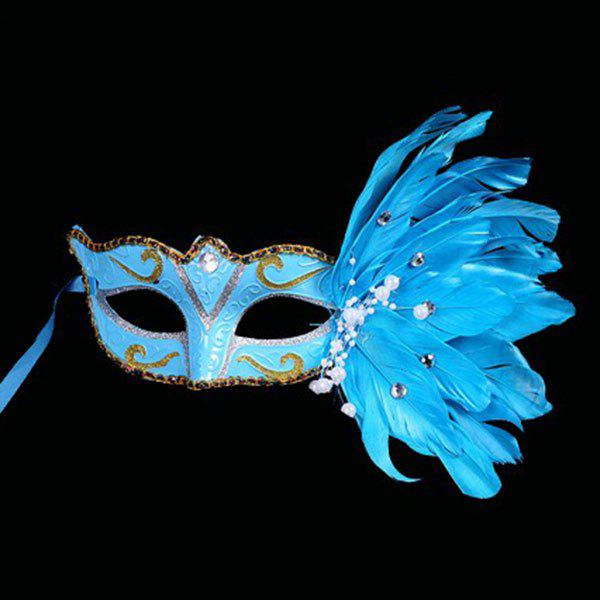 Store Faux Pearl Embellished Party Feather Masquerade Mask