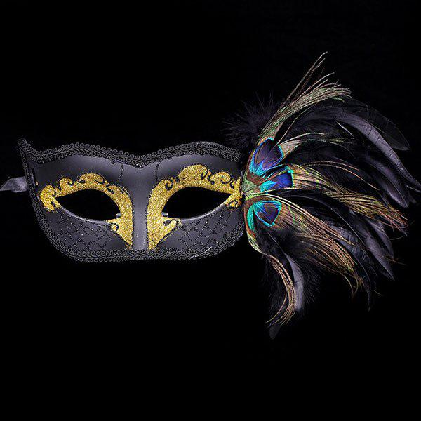 Fashion Faux Pearl Embellished Party Feather Masquerade Mask