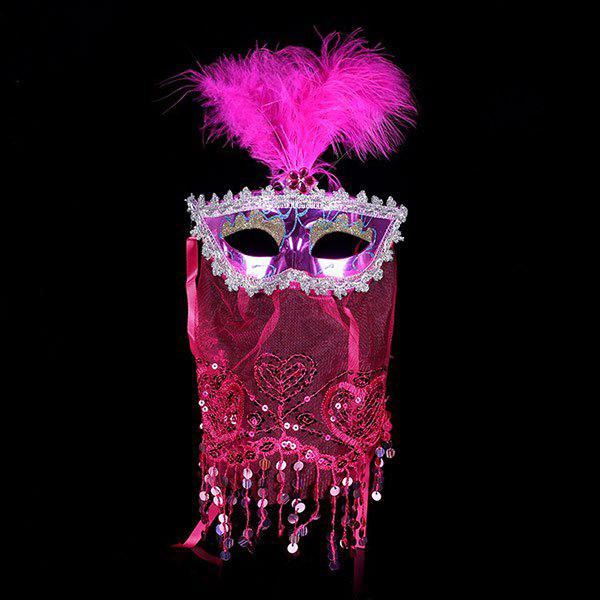 Cheap Prom Party Indian Princess Belly Dance Feather Tulle Mask