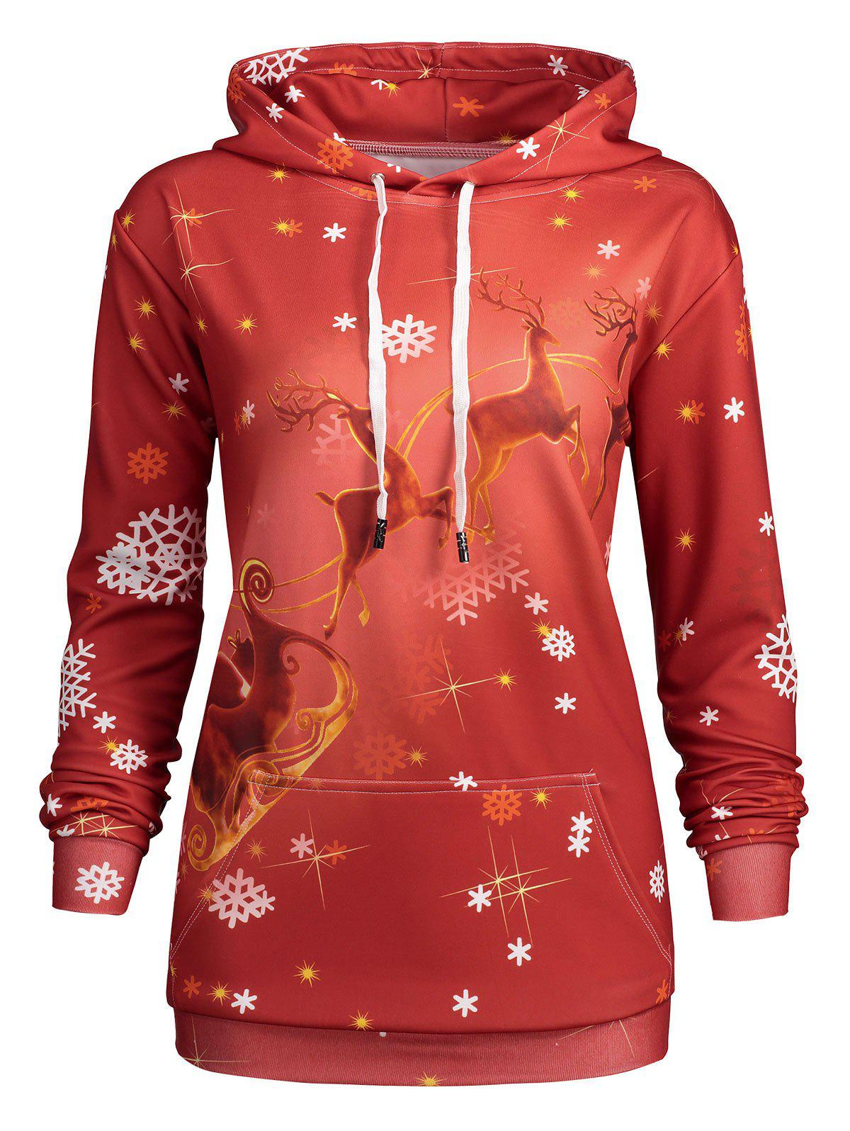 Hot Plus Size Kangaroo Pocket Christmas Deer Hoodie