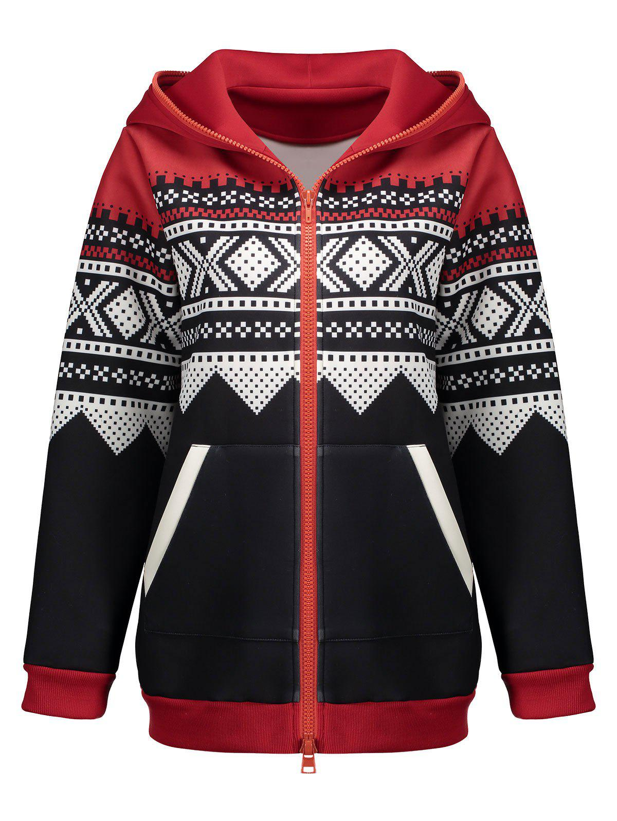 Plus Size Christmas Zipper Hooded JacketWOMEN<br><br>Size: 3XL; Color: BLACK; Clothes Type: Jackets; Material: Polyester; Type: Slim; Shirt Length: Regular; Sleeve Length: Full; Collar: Hooded; Pattern Type: Feather; Embellishment: Front Pocket,Pockets; Style: Fashion; Season: Fall,Winter; Weight: 0.8600kg; Package Contents: 1 x Jacket;