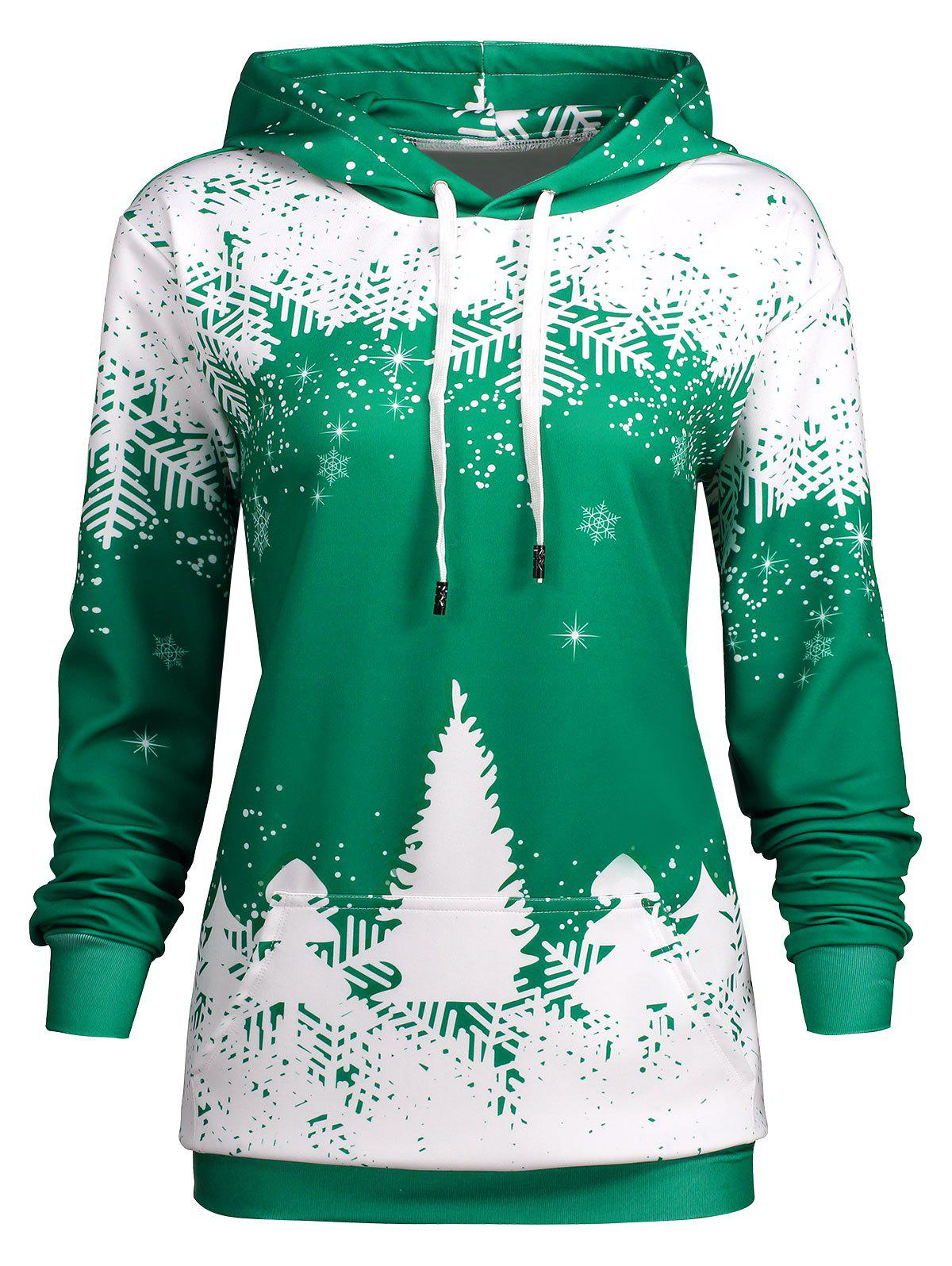 Plus Size Christmas Snowflake Tree Pocket HoodieWOMEN<br><br>Size: 4XL; Color: GREEN; Material: Polyester; Shirt Length: Regular; Sleeve Length: Full; Style: Fashion; Pattern Style: Print; Embellishment: Front Pocket; Season: Fall,Winter; Weight: 0.5200kg; Package Contents: 1 x Hoodie;