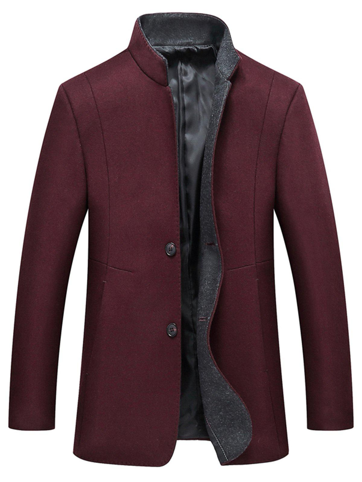 Chic Grandad Collar Coat with Side Pockets
