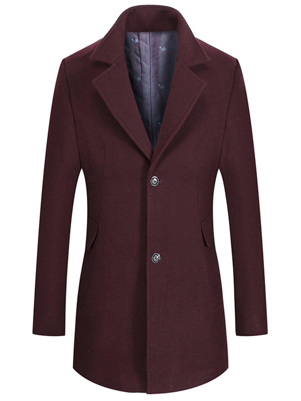 Buy Single Breasted Lapel Collar Wool Mix Coat