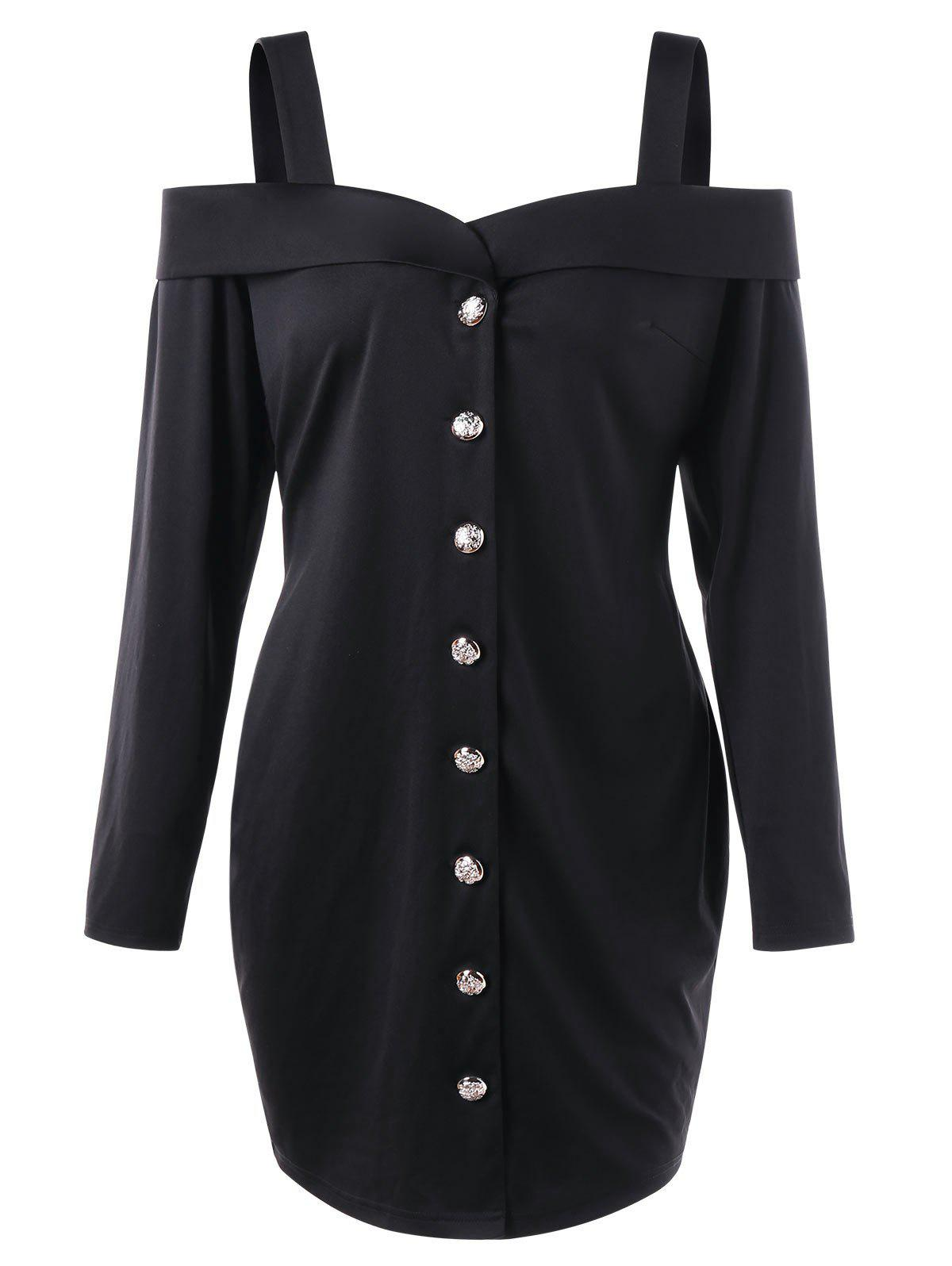 Plus Size Cold Shoulder Long Sleeve DressWOMEN<br><br>Size: 5XL; Color: BLACK; Style: Casual; Material: Polyester,Spandex; Silhouette: Sheath; Dresses Length: Mini; Neckline: Sweetheart Neck; Sleeve Length: Long Sleeves; Pattern Type: Solid; With Belt: No; Season: Fall; Weight: 0.3500kg; Package Contents: 1 x Dress;