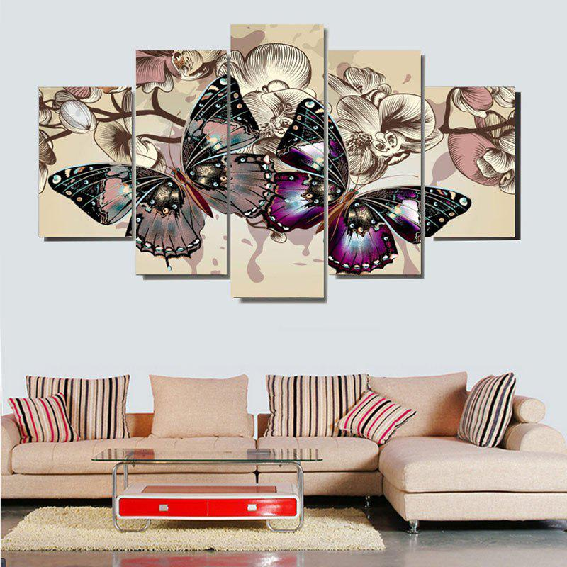 Colorful Butterflies Pattern Decoration Canvas PaintingsHOME<br><br>Size: 1PC:8*20,2PCS:8*12,2PCS:8*16 INCH( NO FRAME ); Color: COLORFUL; Subjects: Animal; Features: Decorative; Style: Fashion; Hang In/Stick On: Bedrooms,Hotels,Living Rooms,Offices; Shape: Horizontal; Form: Five Panels; Frame: No; Material: Canvas; Package Contents: 1 x Canvas Paintings (Set);