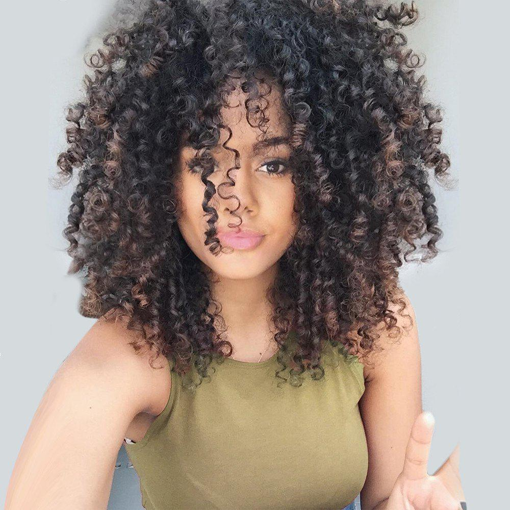 Medium Side Bang Fluffy Colormix Afro Curly Synthetic WigHAIR<br><br>Color: BLACK AND GOLDEN; Type: Full Wigs; Cap Construction: Capless; Style: Afro Curly; Material: Synthetic Hair; Bang Type: Side; Length: Medium; Length Size(CM): 45; Weight: 0.4000kg; Package Contents: 1 x Wig;