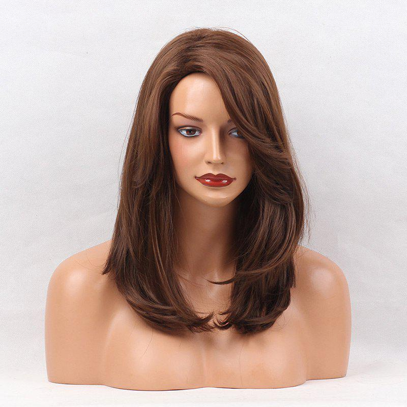 Online Side Parting Medium Layered Natural Straight Synthetic Wig