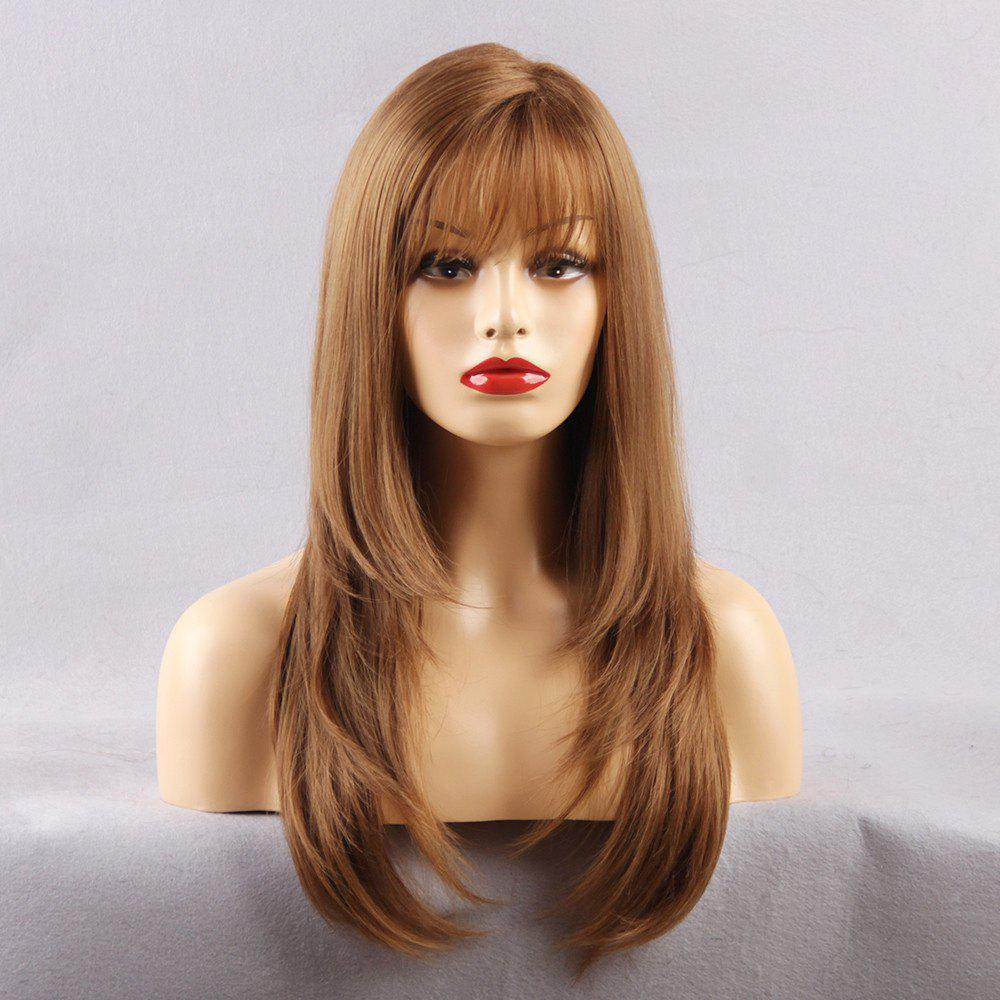 Long See-through Fringe Layered Straight Synthetic WigHAIR<br><br>Size: 22INCH; Color: LIGHT BROWN; Type: Full Wigs; Cap Construction: Capless; Style: Straight; Material: Synthetic Hair; Bang Type: See-through Bang; Length: Long; Length Size(CM): 58; Length Size(Inch): 22; Weight: 0.4000kg; Package Contents: 1 x Wig;