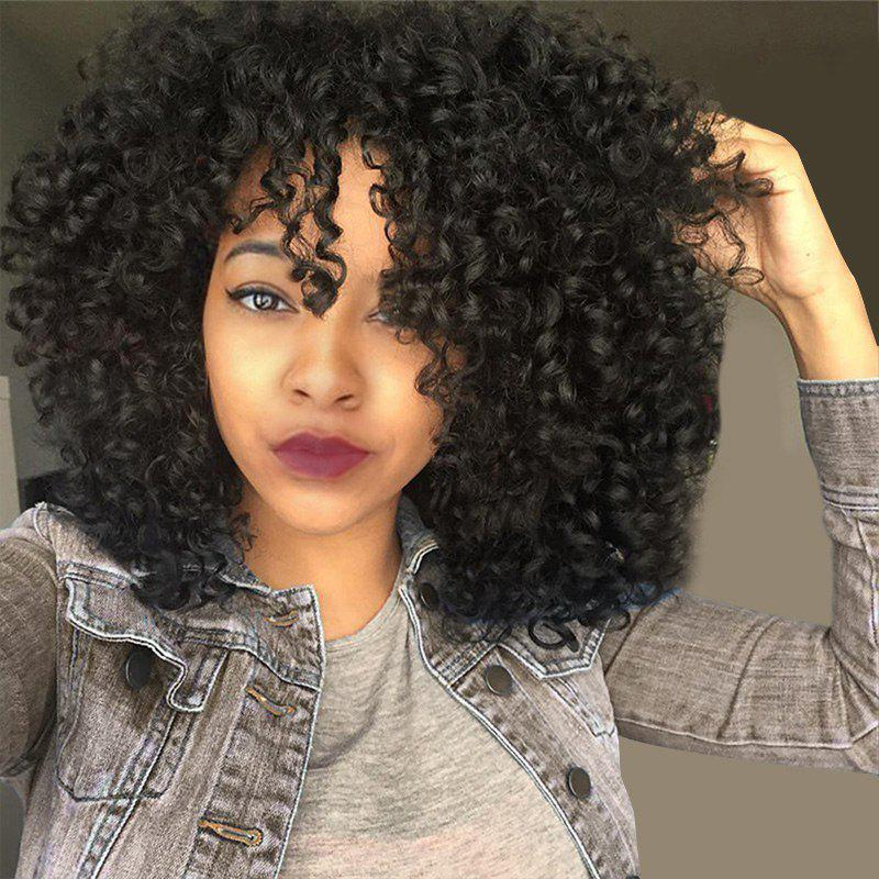 Medium See-through Bang Fluffy Afro Curly Synthetic WigHAIR<br><br>Color: JET BLACK 01#; Type: Full Wigs; Cap Construction: Capless; Style: Afro Curly; Material: Synthetic Hair; Bang Type: See-through Bang; Length: Medium; Length Size(CM): 45; Weight: 0.2400kg; Package Contents: 1 x Wig;