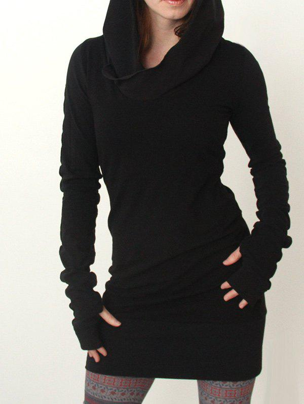 Bodycon Hoodie DressWOMEN<br><br>Size: L; Color: BLACK; Style: Casual; Material: Polyester; Silhouette: Bodycon; Dress Type: Hoodie Dress; Dresses Length: Mini; Neckline: Hooded; Sleeve Length: Long Sleeves; Pattern Type: Solid; With Belt: No; Season: Fall,Spring; Weight: 0.4200kg; Package Contents: 1 x Dress;
