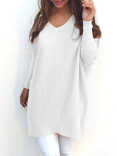 V Neck Tunic SweaterWOMEN<br><br>Size: XL; Color: GLITTER CREAMY WHITE; Type: Pullovers; Material: Polyester; Sleeve Length: Full; Collar: V-Neck; Style: Fashion; Pattern Type: Solid; Season: Fall,Spring; Weight: 0.2900kg; Package Contents: 1 x Sweater;