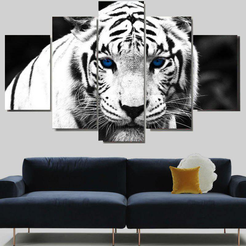 White Tiger Print Split Canvas Wall Art PaintingsHOME<br><br>Size: 1PC:12*31,2PCS:12*16,2PCS:12*24 INCH( NO FRAME ); Color: WHITE; Subjects: Animal; Features: Decorative; Style: Fashion; Hang In/Stick On: Bedrooms,Hotels,Living Rooms,Offices,Stair; Shape: Horizontal; Form: Five Panels; Frame: No; Material: Canvas; Package Contents: 1 x Canvas Paintings (Set);