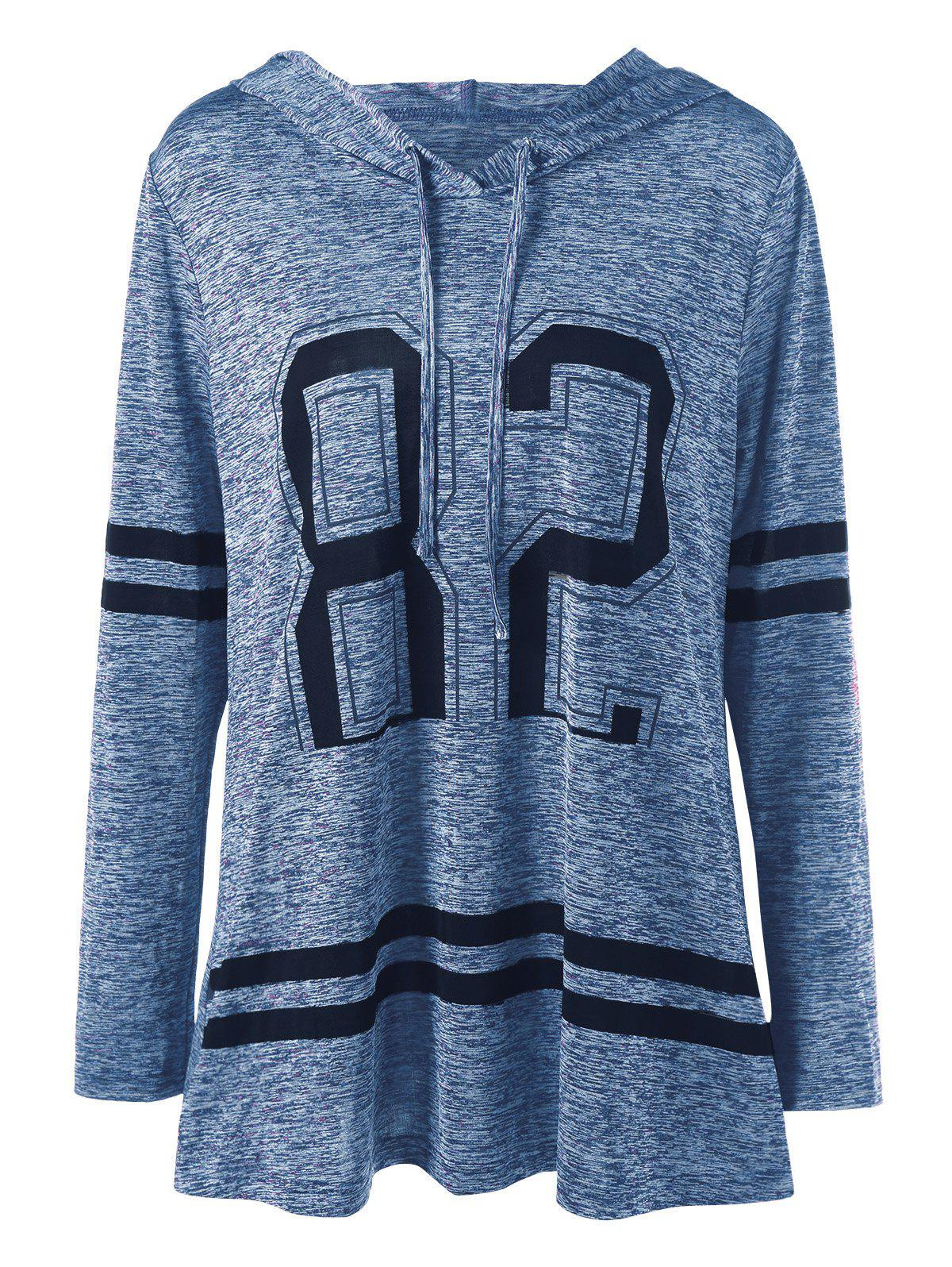Plus Size Graphic Marled Tunic HoodieWOMEN<br><br>Size: 3XL; Color: AZURE BLUE; Material: Polyester,Spandex; Shirt Length: Long; Sleeve Length: Full; Style: Casual; Pattern Style: Others; Season: Fall,Spring; Weight: 0.3100kg; Package Contents: 1 x Hoodie;