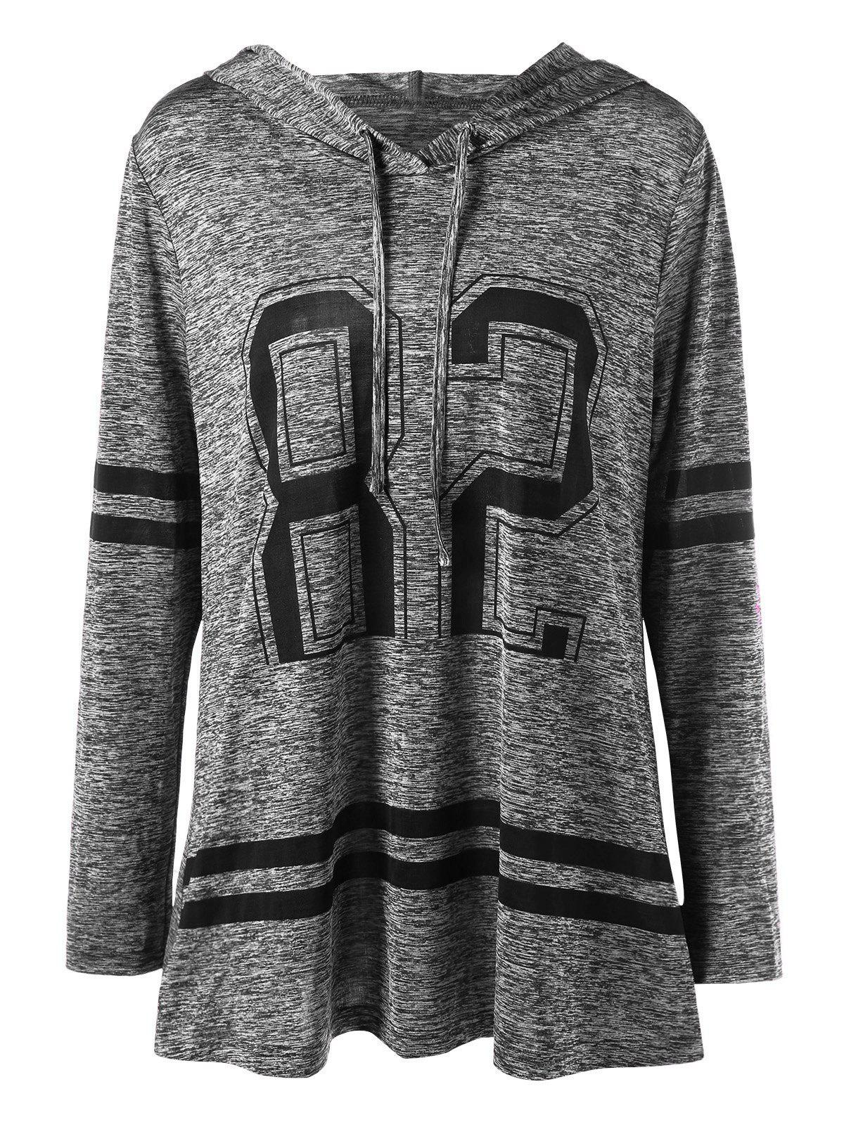 Plus Size Graphic Marled Tunic HoodieWOMEN<br><br>Size: 2XL; Color: BLACK GREY; Material: Polyester,Spandex; Shirt Length: Long; Sleeve Length: Full; Style: Casual; Pattern Style: Others; Season: Fall,Spring; Weight: 0.3100kg; Package Contents: 1 x Hoodie;