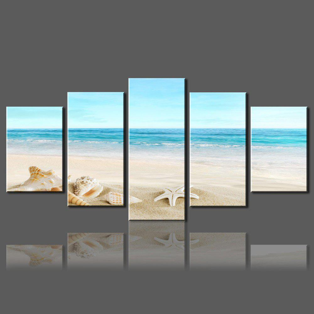 Wall Split Canvas Art Paintings Beach Starfish PrintHOME<br><br>Size: 1PC:8*20,2PCS:8*12,2PCS:8*16 INCH( NO FRAME ); Color: COLORFUL; Subjects: Romance,Seascape; Features: Decorative; Style: Fashion,Romantic; Hang In/Stick On: Bathroom,Bedrooms,Hotels,Living Rooms,Offices,Stair; Shape: Horizontal; Form: Five Panels; Frame: No; Material: Canvas; Package Contents: 1 x Canvas Paintings (Set);
