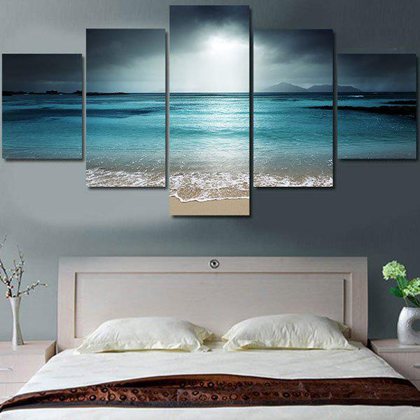 Sea Wave and Beach Printed Unframed Canvas PaintingsHOME<br><br>Size: 1PC:8*20,2PCS:8*12,2PCS:8*16 INCH( NO FRAME ); Color: BLUE; Subjects: Seascape; Features: Decorative; Style: Fashion; Hang In/Stick On: Bedrooms,Hotels,Living Rooms,Offices; Shape: Horizontal; Form: Five Panels; Frame: No; Material: Canvas; Package Contents: 1 x Canvas Paintings (Set);