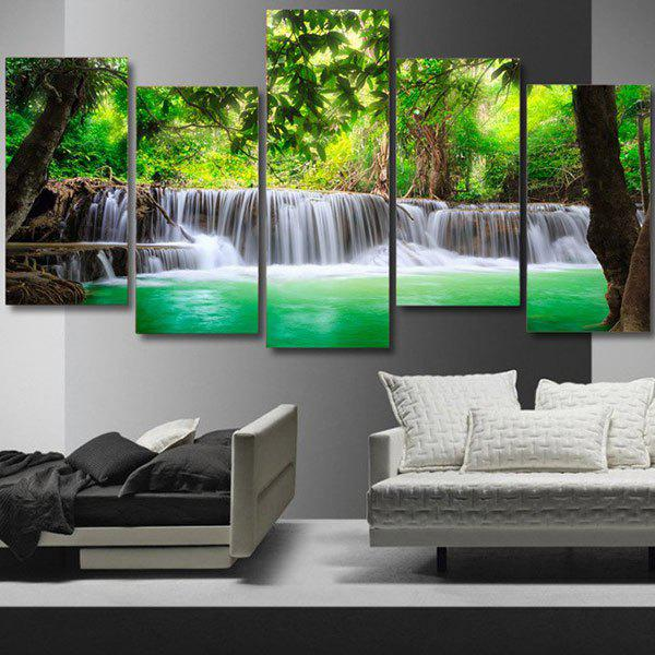 Trees Waterfall Printed Unframed Canvas PaintingsHOME<br><br>Size: 1PC:8*20,2PCS:8*12,2PCS:8*16 INCH( NO FRAME ); Color: GREEN; Subjects: Landscape; Features: Decorative; Style: Fashion; Hang In/Stick On: Bedrooms,Hotels,Living Rooms,Offices; Shape: Horizontal; Form: Five Panels; Frame: No; Material: Canvas; Package Contents: 1 x Canvas Paintings (Set);