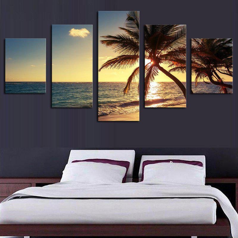 Sunset Coconut Tree Print Unframed Split Canvas Paintings
