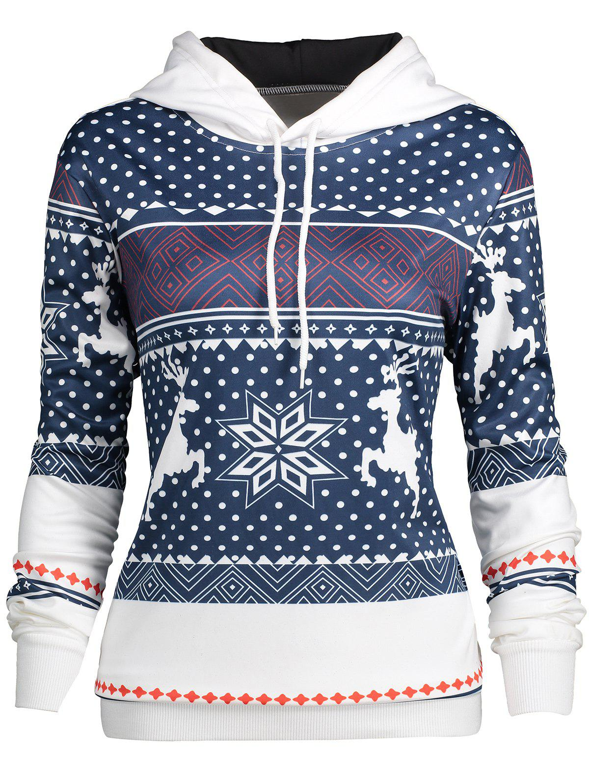 Christmas Snowflake Elk Print HoodieWOMEN<br><br>Size: 2XL; Color: COLORMIX; Material: Cotton,Polyester; Shirt Length: Regular; Sleeve Length: Full; Style: Casual; Pattern Style: Animal,Geometric; Season: Fall,Spring; Weight: 0.4000kg; Package Contents: 1 x Hoodie;