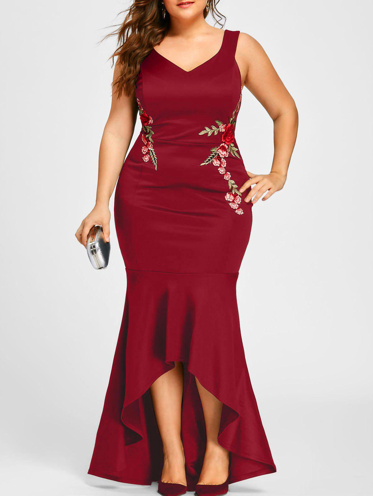 Plus Size Sleeveless Party Mermaid Engagement DressWOMEN<br><br>Size: 4XL; Color: RED; Style: Brief; Material: Polyester,Spandex; Silhouette: Trumpet/Mermaid; Dresses Length: Floor-Length; Neckline: V-Neck; Sleeve Length: Sleeveless; Embellishment: Appliques,Embroidery; Pattern Type: Floral; With Belt: No; Season: Fall,Spring,Summer; Weight: 0.5500kg; Package Contents: 1 x Dress;