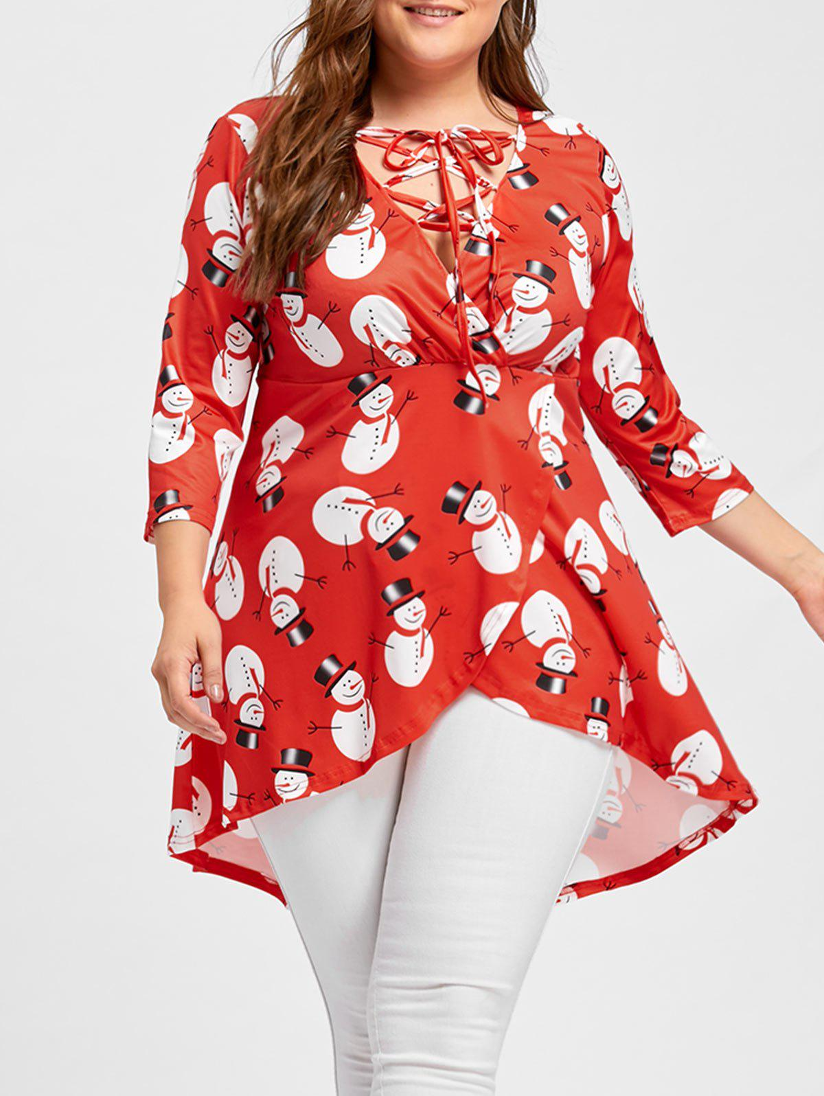 Christmas Snowman High Low Lace Up Plus Size TeeWOMEN<br><br>Size: 4XL; Color: RED; Material: Cotton,Polyester; Shirt Length: Long; Sleeve Length: Three Quarter; Collar: V-Neck; Style: Fashion; Season: Fall,Spring; Embellishment: Criss-Cross; Pattern Type: Print; Weight: 0.3500kg; Package Contents: 1 x T-shirt;