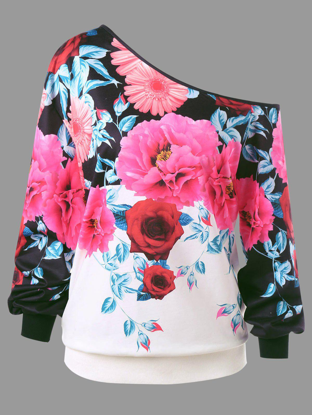 Plus Size Skew Neck Floral Print SweatshirtWOMEN<br><br>Size: 4XL; Color: COLORMIX; Material: Polyester,Spandex; Shirt Length: Regular; Sleeve Length: Full; Style: Fashion; Pattern Style: Floral; Season: Fall; Weight: 0.3000kg; Package Contents: 1 x Sweatshirt;