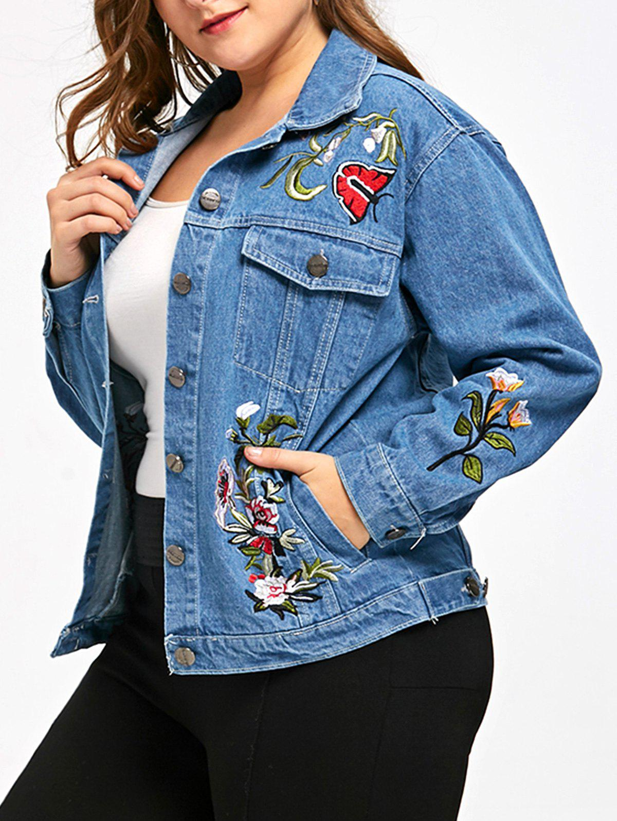 Button Up Plus Size Embroidery Denim JacketWOMEN<br><br>Size: 3XL; Color: DENIM BLUE; Clothes Type: Jackets; Material: Polyester,Spandex; Type: Slim; Shirt Length: Regular; Sleeve Length: Full; Collar: Turn-down Collar; Pattern Type: Others; Embellishment: Embroidery; Style: Fashion; Season: Fall,Spring; Weight: 0.3900kg; Package Contents: 1 x Jacket;
