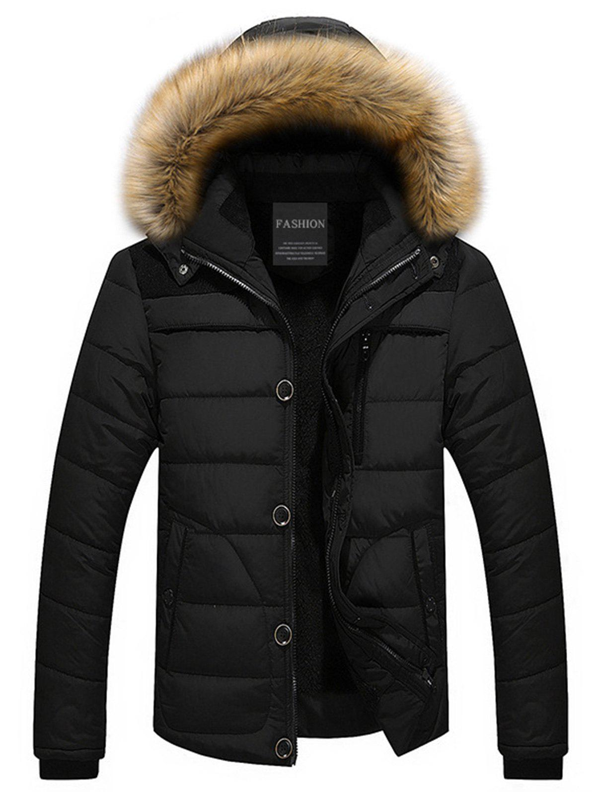 Hooded Puffer Jacket with Faux Fur TrimMEN<br><br>Size: L; Color: BLACK; Clothes Type: Jackets; Style: Fashion; Material: Cotton,Polyester; Collar: Hooded; Shirt Length: Regular; Sleeve Length: Long Sleeves; Season: Fall,Winter; Closure Type: Zipper; Occasion: Casual,Daily Use,Going Out; Weight: 1.1200kg; Package Contents: 1 x Jacket;