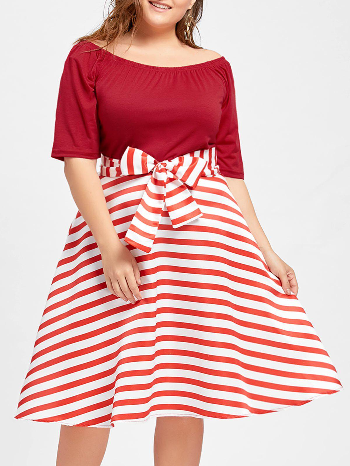 Stripe Plus Size Christmas Party Knee Length DressWOMEN<br><br>Size: 2XL; Color: RED; Style: Cute; Material: Cotton Blend,Polyester; Silhouette: Ball Gown; Dresses Length: Knee-Length; Neckline: Boat Neck; Sleeve Length: Short Sleeves; Pattern Type: Striped; With Belt: Yes; Season: Fall,Winter; Weight: 0.3700kg; Package Contents: 1 x Dress 1 x Belt;