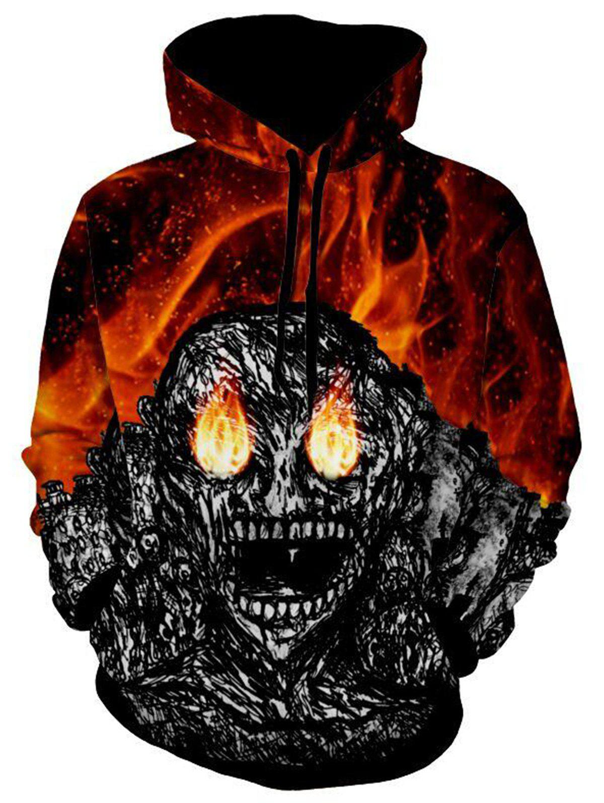 Devil Print Kangaroo Pocket Halloween HoodieMEN<br><br>Size: 3XL; Color: BLACK; Material: Polyester; Clothes Type: Hoodie; Shirt Length: Regular; Sleeve Length: Full; Style: Gothic; Patterns: Skulls; Thickness: Regular; Occasion: Casual; Weight: 0.5900kg; Package Contents: 1 x Hoodie;