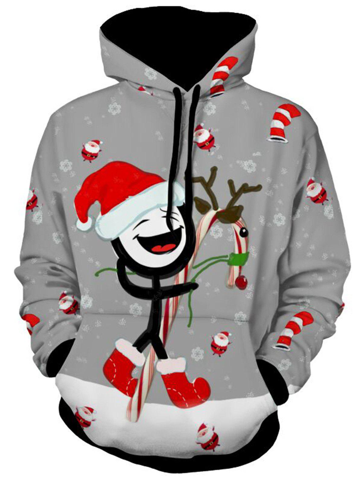 Printed Kangaroo Pocket Christmas HoodieMEN<br><br>Size: M; Color: GRAY; Material: Polyester; Clothes Type: Hoodie; Shirt Length: Regular; Sleeve Length: Full; Style: Casual; Patterns: Cartoon; Thickness: Regular; Occasion: Casual; Weight: 0.5900kg; Package Contents: 1 x Hoodie;