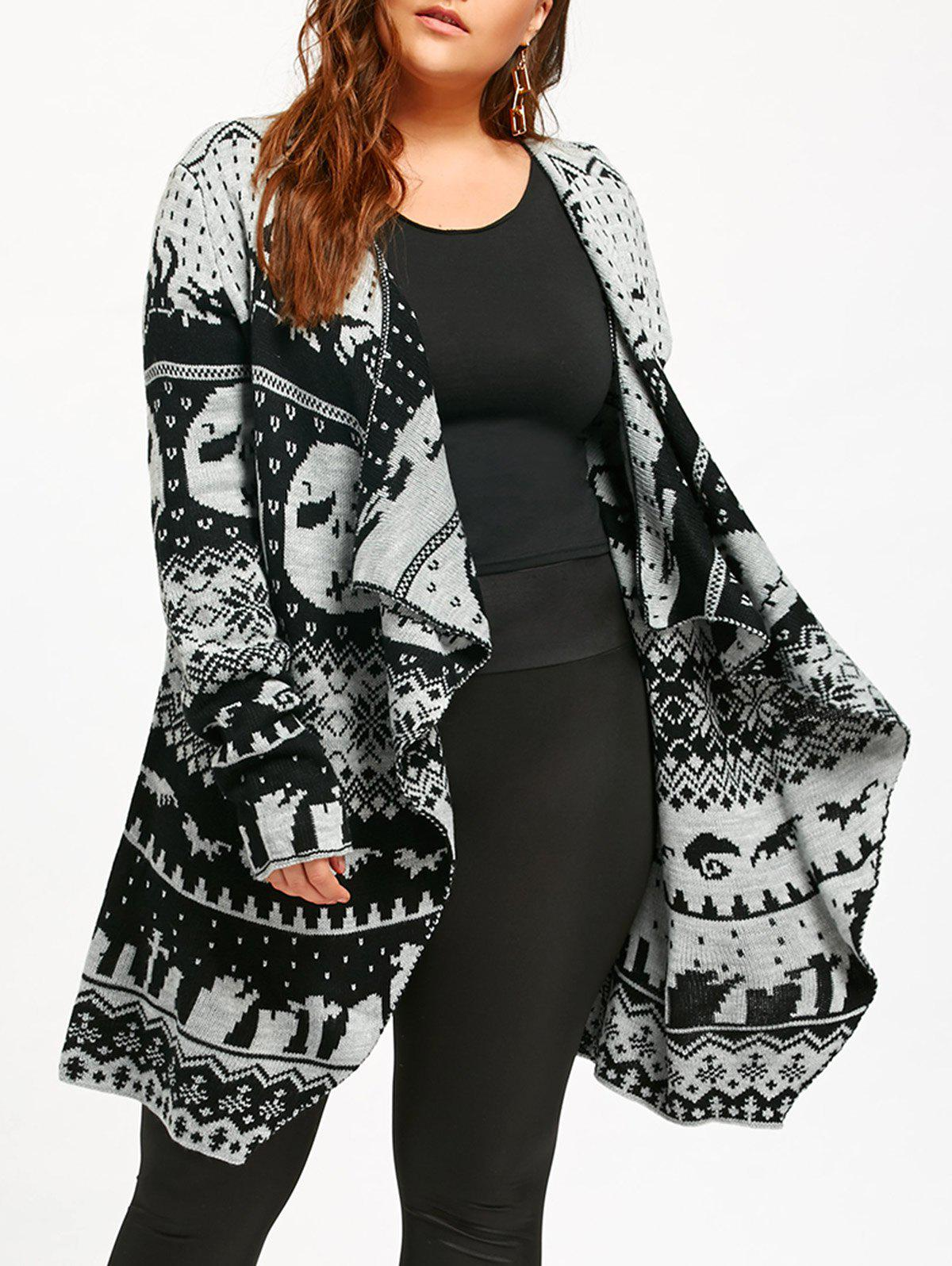 Fashion Halloween Skull Plus Size Knitted Tunic Cardigan