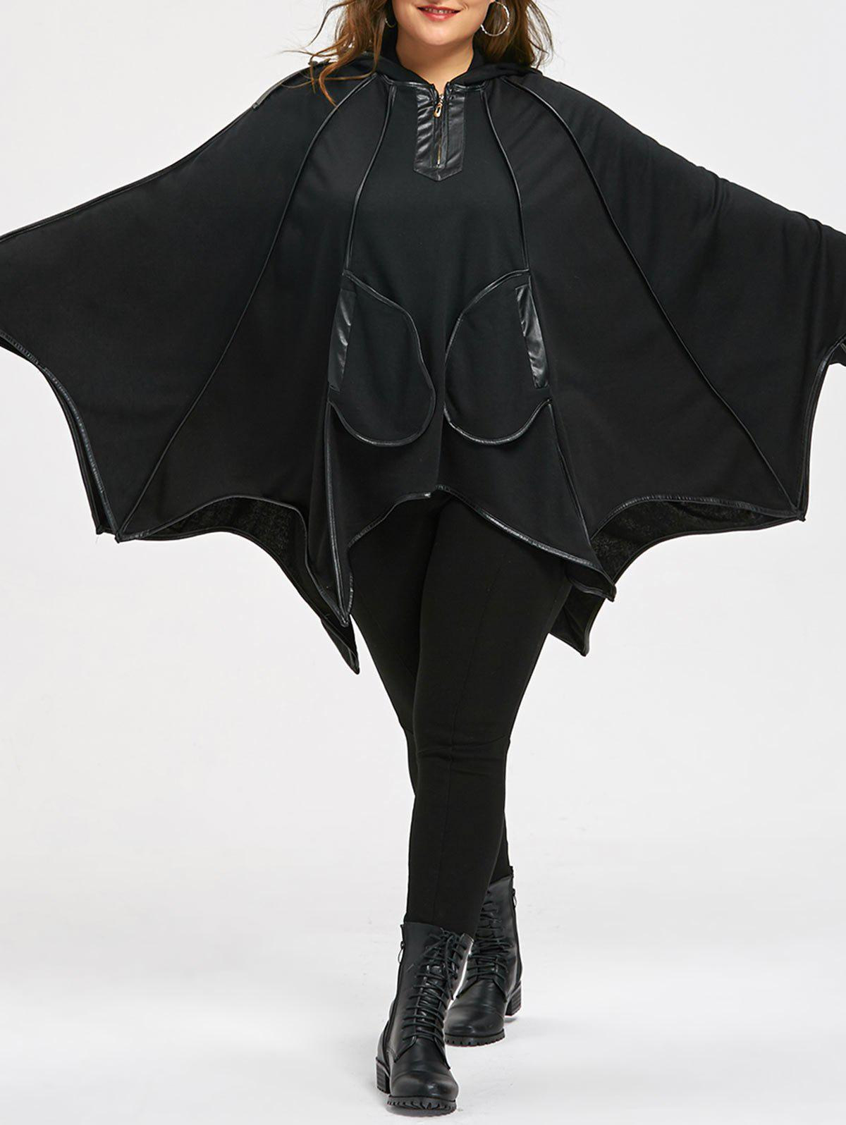 Halloween Plus Size Faux Leather Trim Batwing CoatWOMEN<br><br>Size: 2XL; Color: BLACK; Clothes Type: Others; Material: Polyester,Spandex; Type: Bat Sleeved; Shirt Length: Regular; Sleeve Length: Full; Collar: Hooded; Pattern Type: Solid; Embellishment: Epaulet,Pockets; Style: Novelty; Season: Fall,Spring; Weight: 0.4000kg; Package Contents: 1 x Coat;