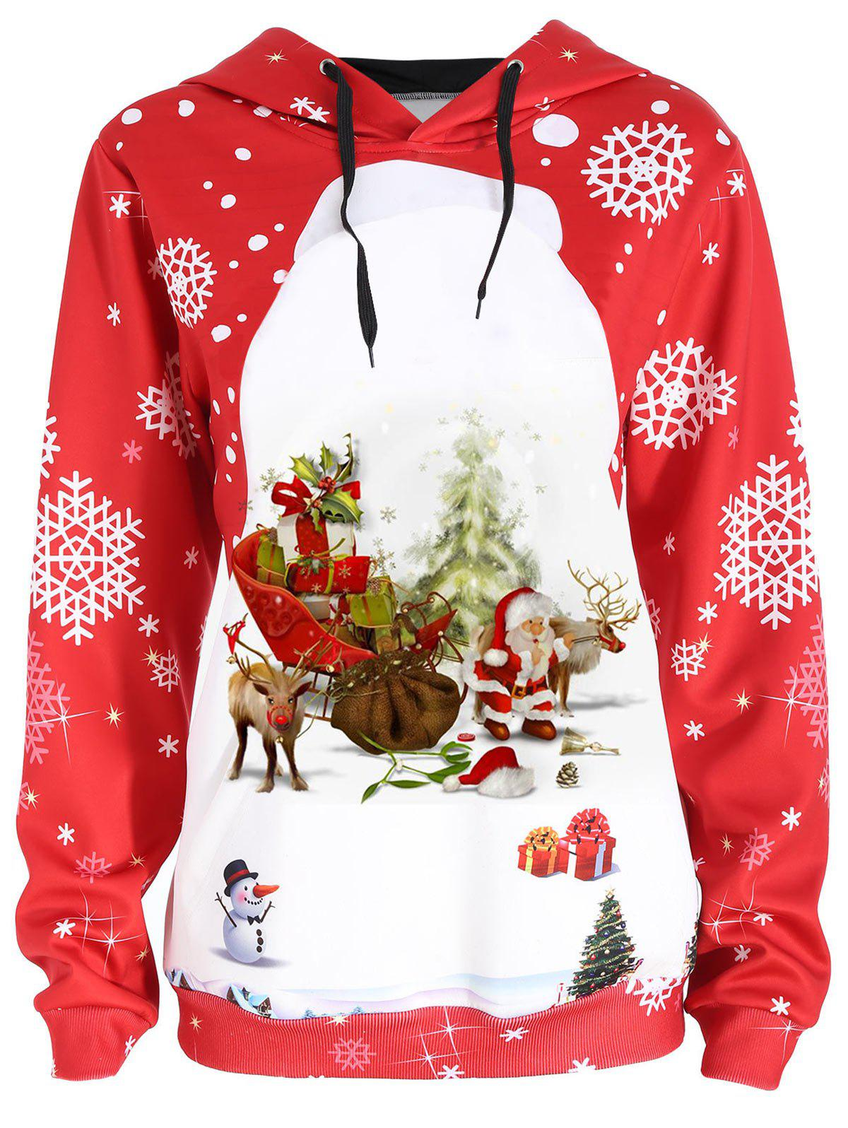 Christmas Santa Claus Snowflake Elk Print HoodieWOMEN<br><br>Size: XL; Color: RED; Material: Cotton,Polyester; Shirt Length: Regular; Sleeve Length: Full; Style: Fashion; Pattern Style: Plant,Print; Season: Fall,Spring; Weight: 0.3500kg; Package Contents: 1 x Hoodie;