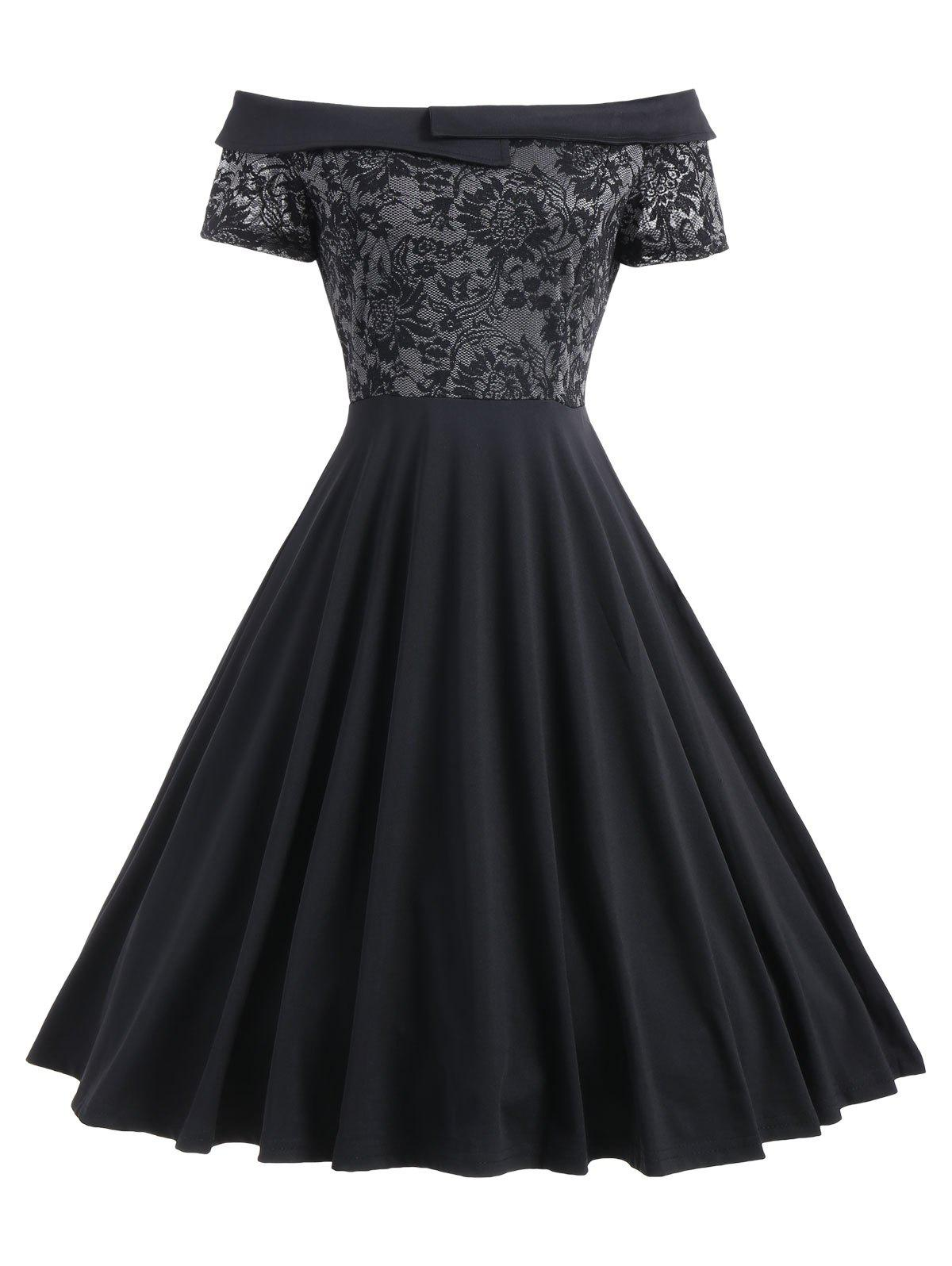 Lace Trim Off The Shoulder Cocktail DressWOMEN<br><br>Size: XL; Color: BLACK; Style: Vintage; Material: Polyester,Spandex; Silhouette: A-Line; Dresses Length: Knee-Length; Neckline: Off The Shoulder; Sleeve Length: Short Sleeves; Embellishment: Lace; Pattern Type: Solid; With Belt: No; Season: Fall,Spring; Weight: 0.4200kg; Package Contents: 1 x Dress;